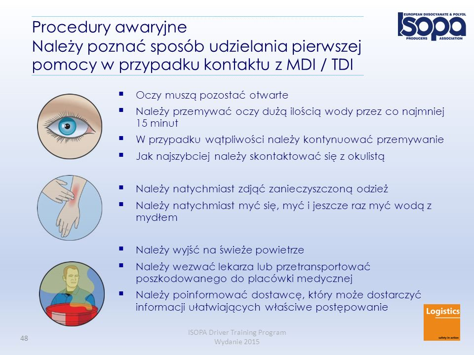 Procedury awaryjne Należy poznać sposób udzielania pierwszej pomocy w przypadku kontaktu z MDI / TDI