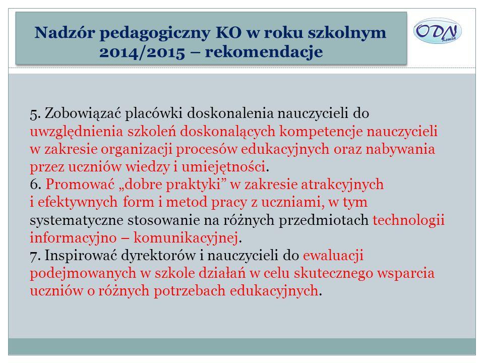 Nadzór pedagogiczny KO w roku szkolnym 2014/2015 – rekomendacje