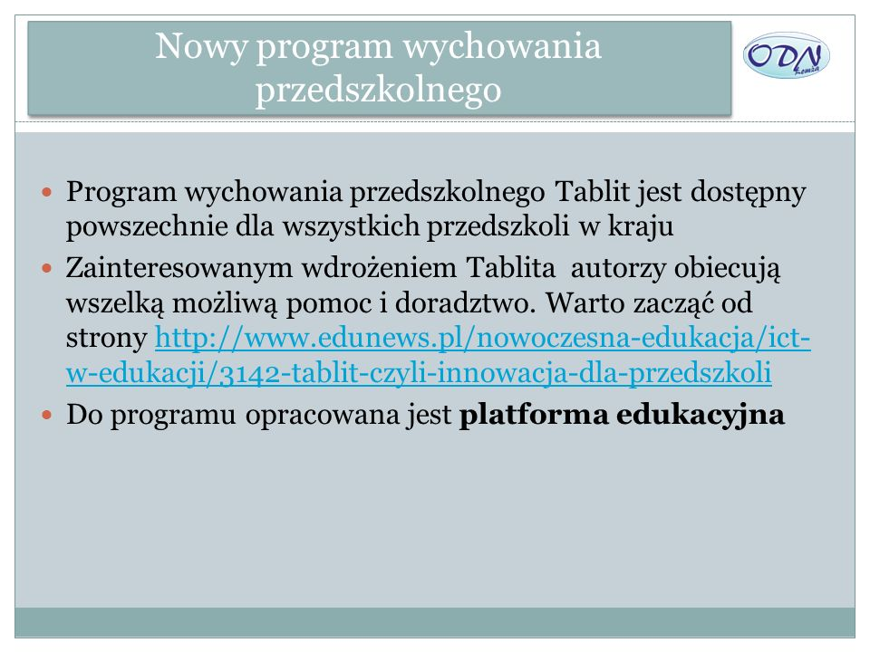Nowy program wychowania przedszkolnego