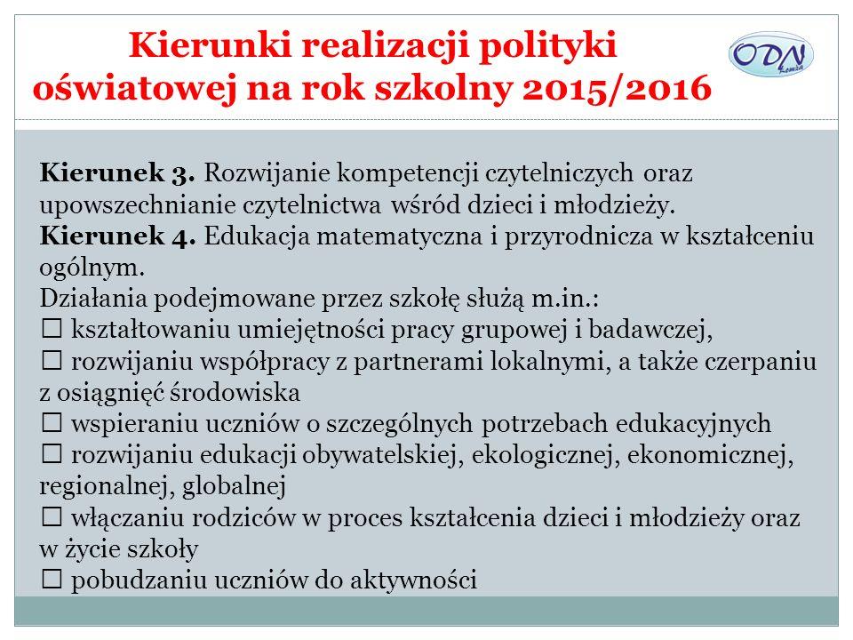 Kierunki realizacji polityki oświatowej na rok szkolny 2015/2016