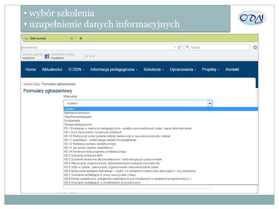 wybór szkolenia uzupełnienie danych informacyjnych