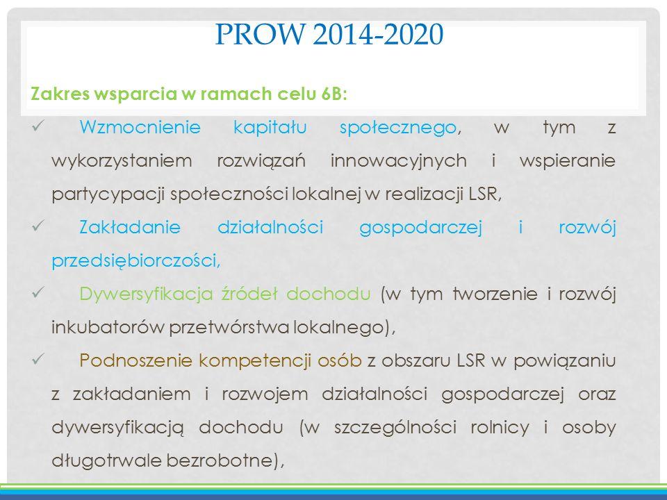 PROW 2014-2020 Zakres wsparcia w ramach celu 6B: