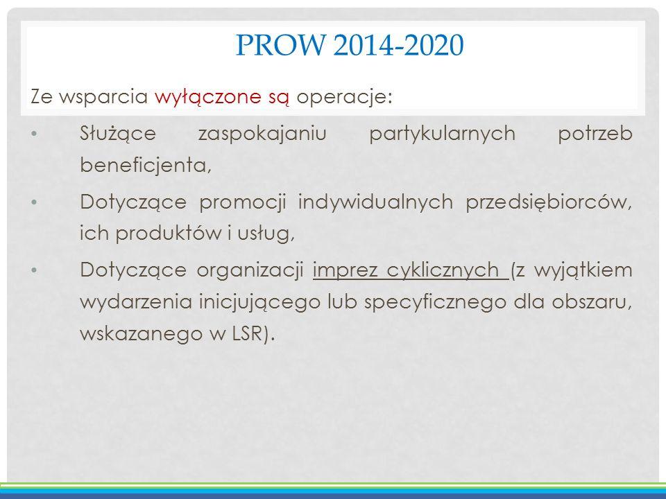 PROW 2014-2020 Ze wsparcia wyłączone są operacje: