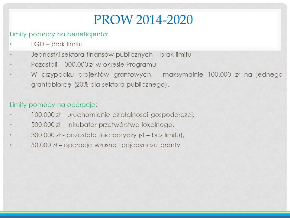 PROW 2014-2020 Limity pomocy na beneficjenta: LGD – brak limitu