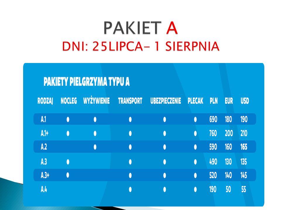 PAKIET A DNI: 25LIPCA- 1 SIERPNIA