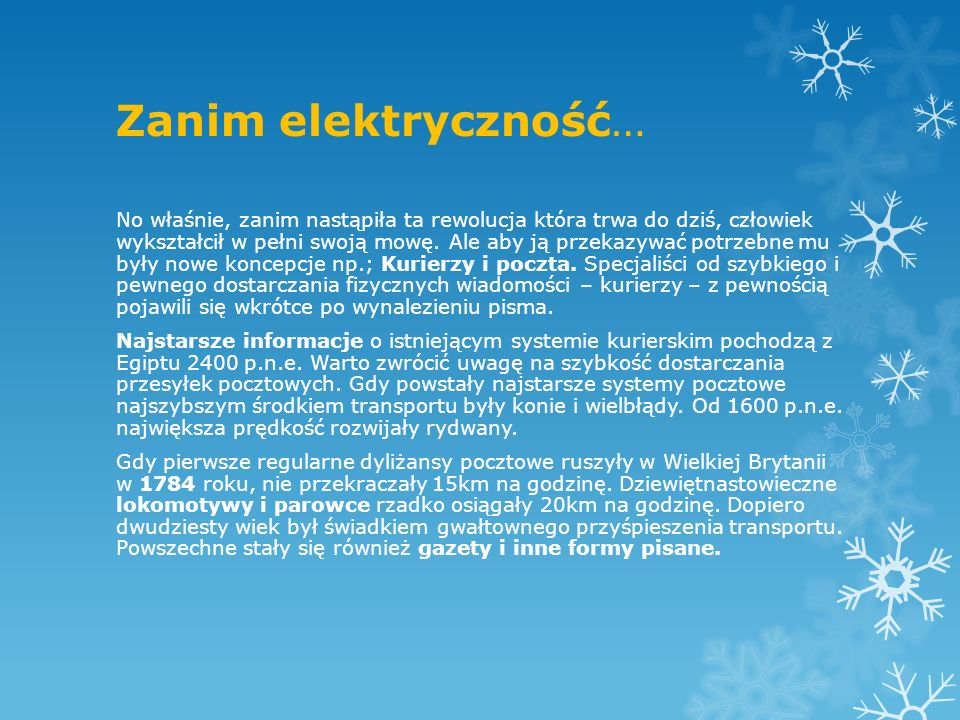 Zanim elektryczność…