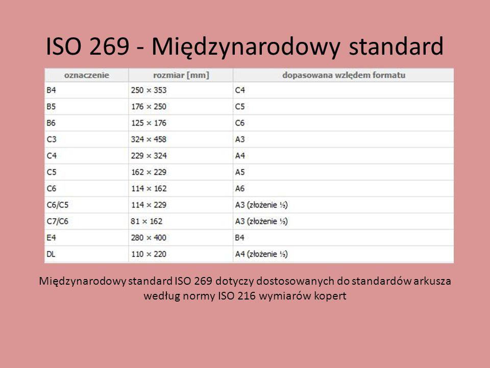ISO 269 - Międzynarodowy standard