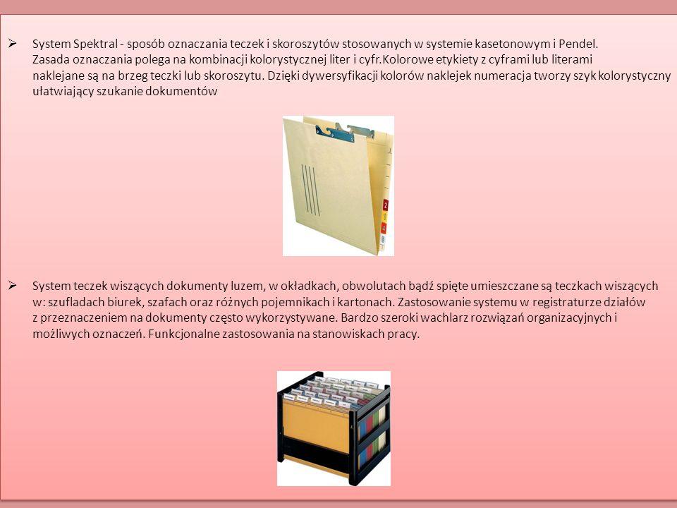 System Spektral - sposób oznaczania teczek i skoroszytów stosowanych w systemie kasetonowym i Pendel. Zasada oznaczania polega na kombinacji kolorystycznej liter i cyfr.Kolorowe etykiety z cyframi lub literami naklejane są na brzeg teczki lub skoroszytu. Dzięki dywersyfikacji kolorów naklejek numeracja tworzy szyk kolorystyczny ułatwiający szukanie dokumentów
