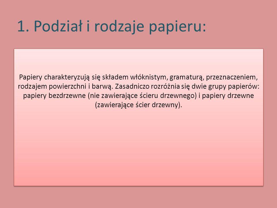 1. Podział i rodzaje papieru: