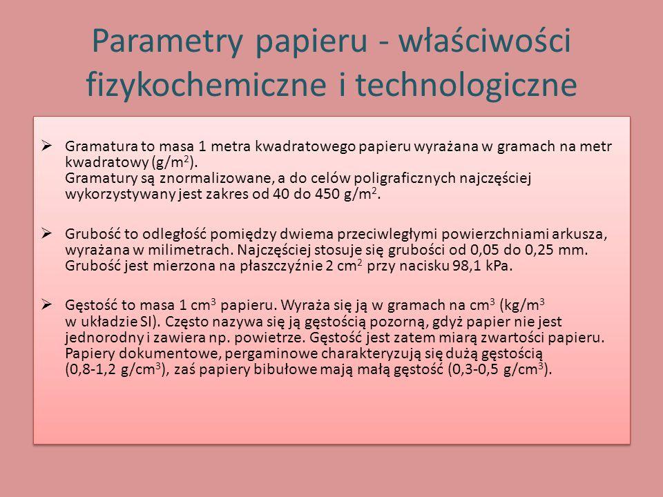 Parametry papieru - właściwości fizykochemiczne i technologiczne