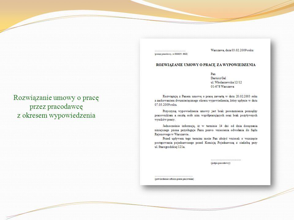 Rozwiązanie umowy o pracę przez pracodawcę z okresem wypowiedzenia