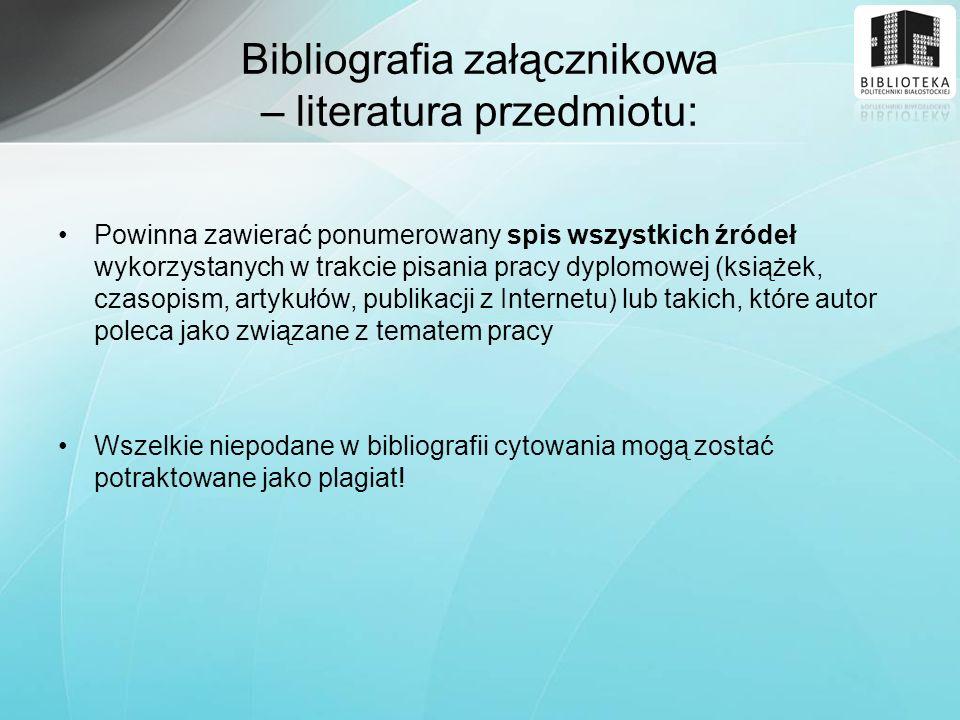 Bibliografia załącznikowa – literatura przedmiotu:
