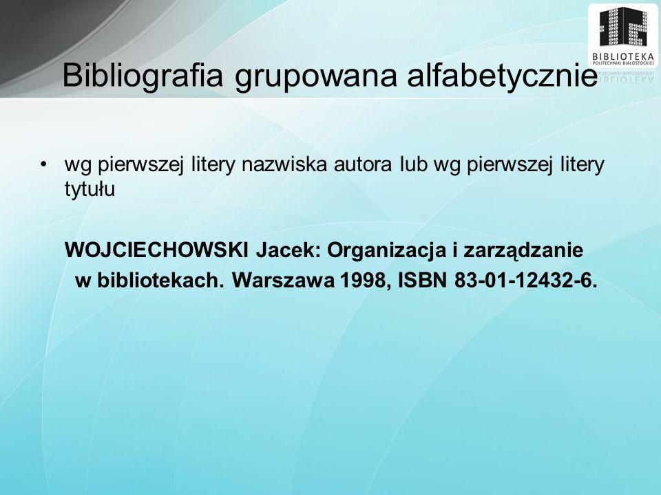 Bibliografia grupowana alfabetycznie