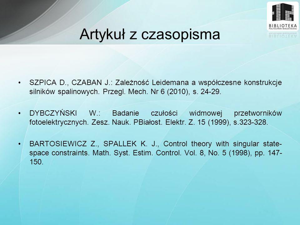 Artykuł z czasopisma SZPICA D., CZABAN J.: Zależność Leidemana a współczesne konstrukcje silników spalinowych. Przegl. Mech. Nr 6 (2010), s. 24-29.