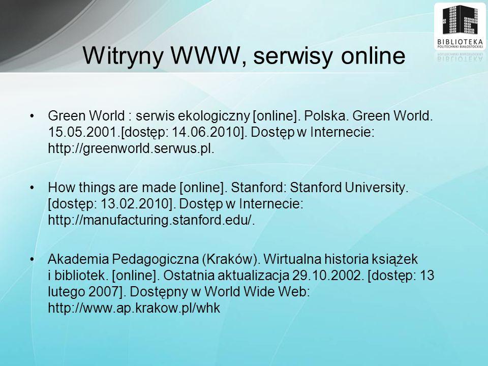 Witryny WWW, serwisy online