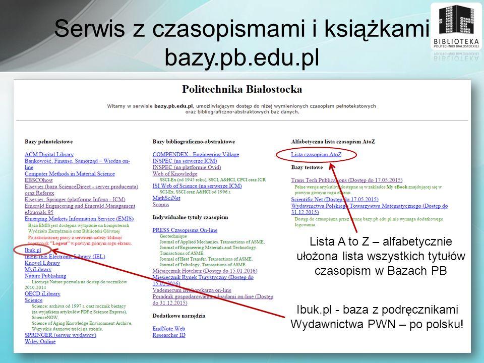 Serwis z czasopismami i książkami bazy.pb.edu.pl
