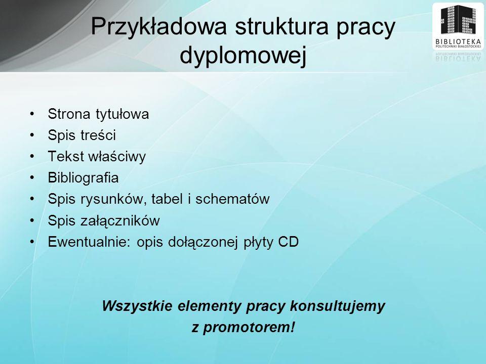 Przykładowa struktura pracy dyplomowej