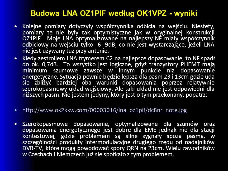 Budowa LNA OZ1PIF według OK1VPZ - wyniki