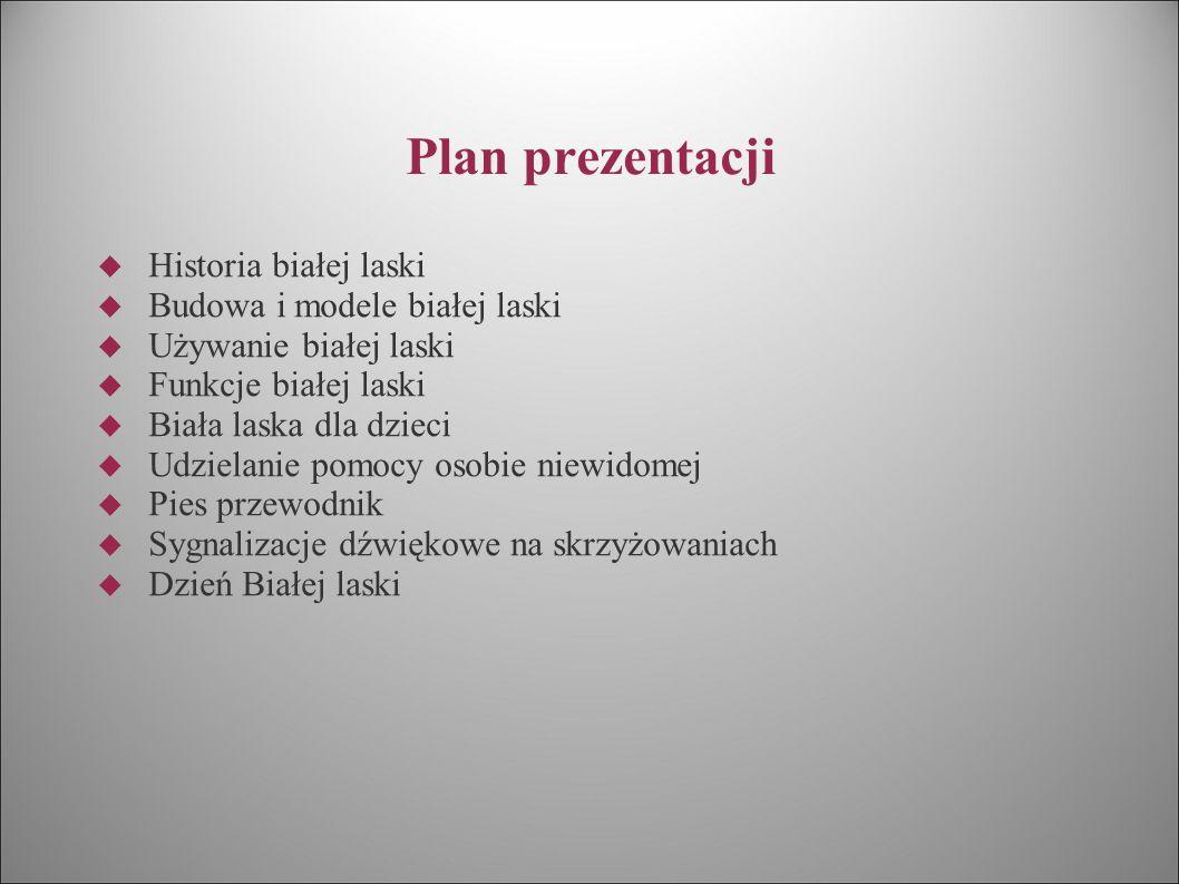 Plan prezentacji Historia białej laski Budowa i modele białej laski