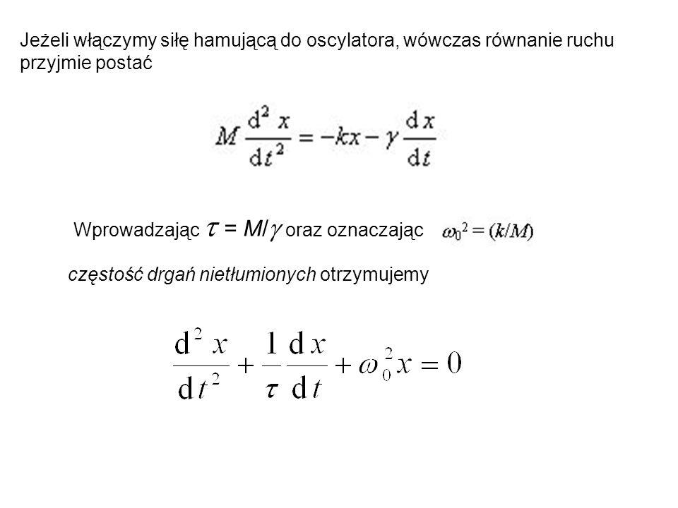 Jeżeli włączymy siłę hamującą do oscylatora, wówczas równanie ruchu