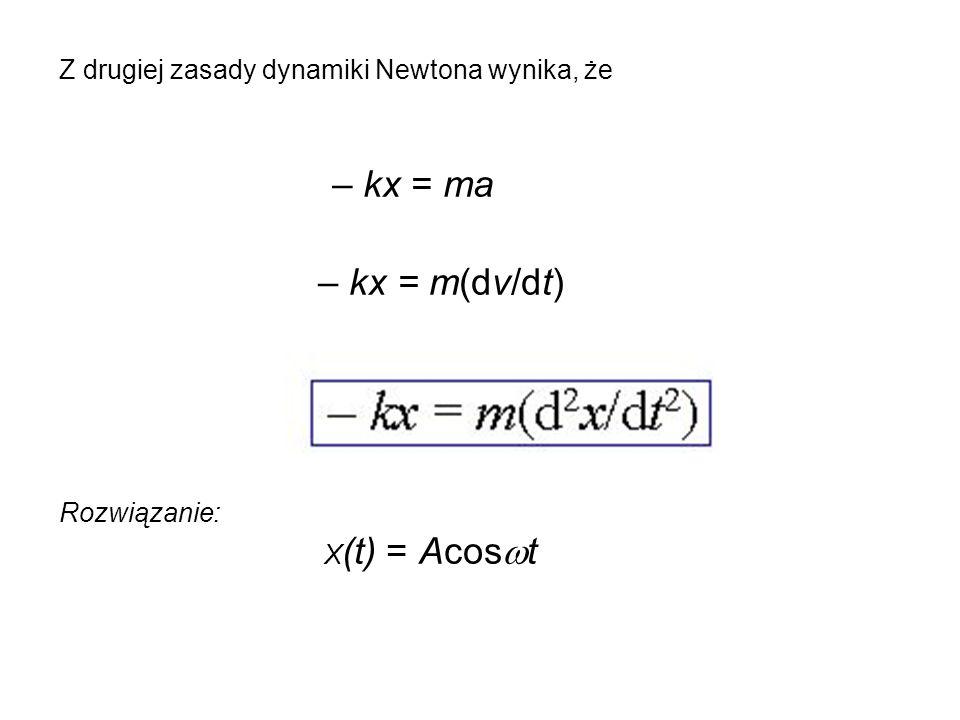 – kx = ma – kx = m(dv/dt) Z drugiej zasady dynamiki Newtona wynika, że