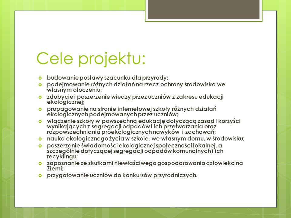 Cele projektu: budowanie postawy szacunku dla przyrody;