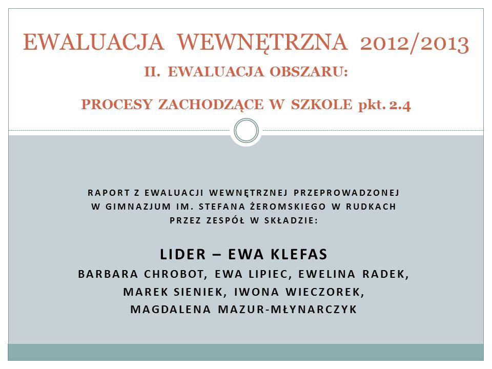 EWALUACJA WEWNĘTRZNA 2012/2013