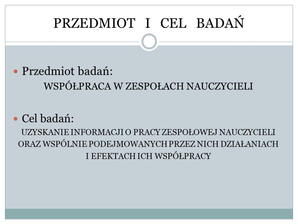 PRZEDMIOT I CEL BADAŃ Przedmiot badań: Cel badań: