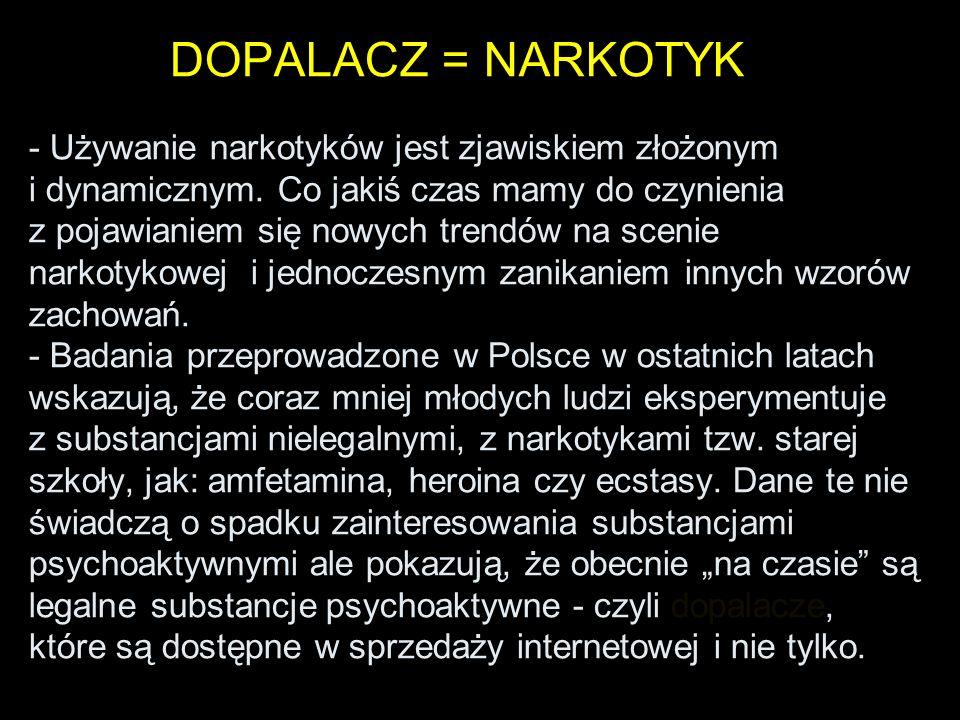 DOPALACZ = NARKOTYK - Używanie narkotyków jest zjawiskiem złożonym i dynamicznym.