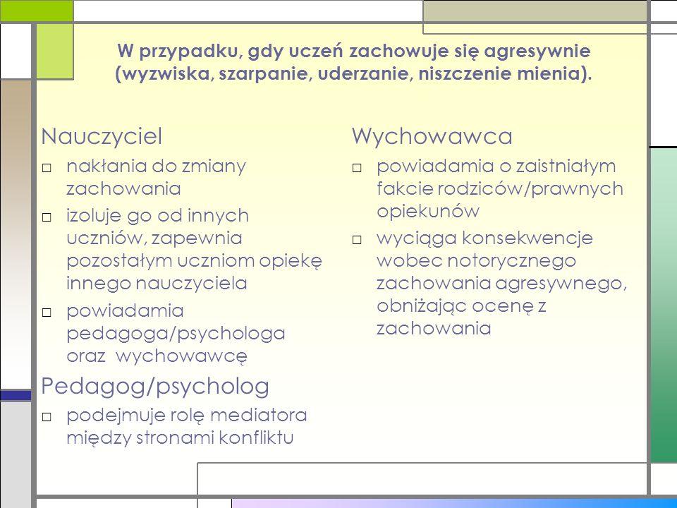Nauczyciel Pedagog/psycholog Wychowawca