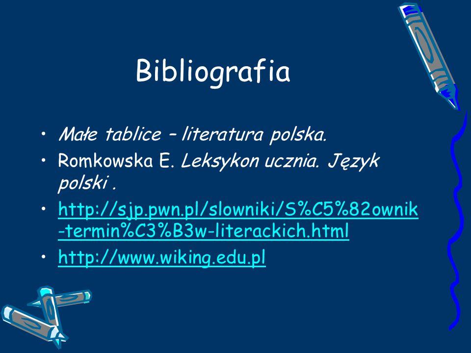 Bibliografia Małe tablice – literatura polska.