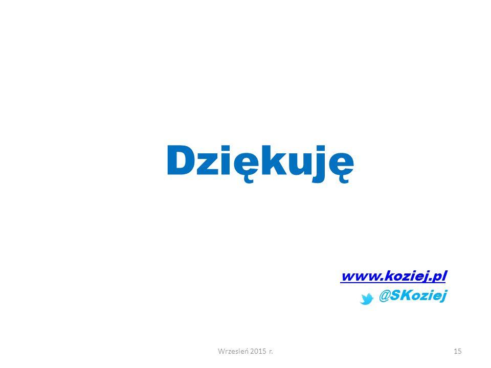 Dziękuję www.koziej.pl @SKoziej Wrzesień 2015 r.