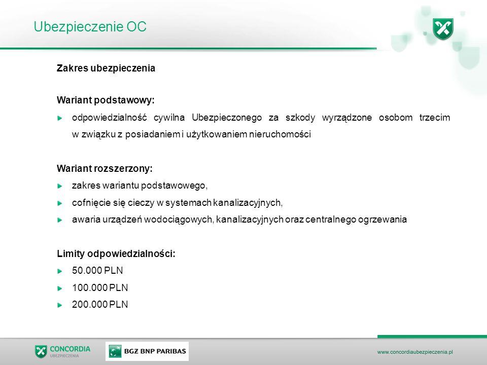 Ubezpieczenie OC Zakres ubezpieczenia Wariant podstawowy: