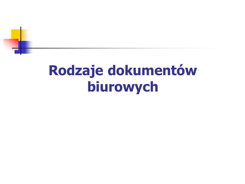 Rodzaje dokumentów biurowych