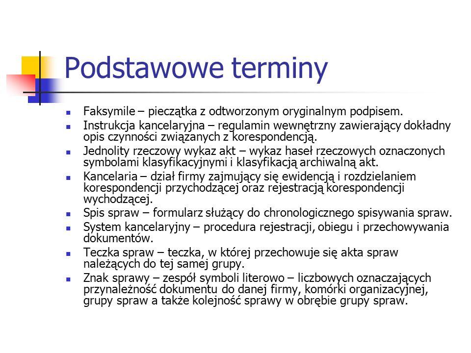 Podstawowe terminy Faksymile – pieczątka z odtworzonym oryginalnym podpisem.