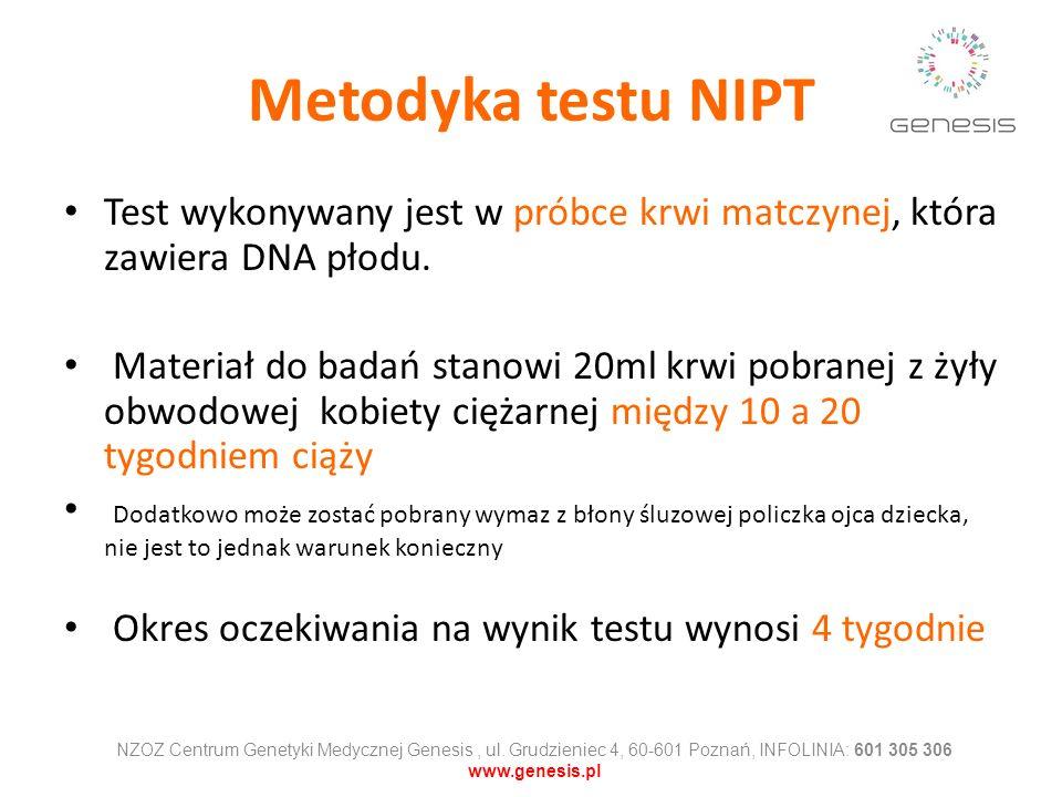 Metodyka testu NIPT Test wykonywany jest w próbce krwi matczynej, która zawiera DNA płodu.