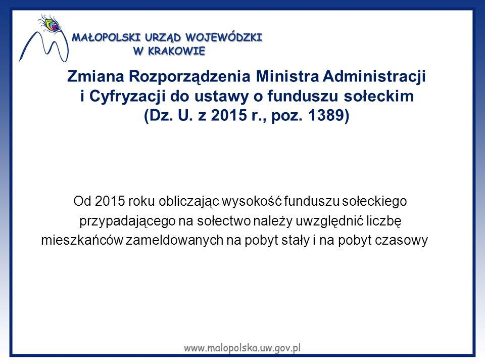 Zmiana Rozporządzenia Ministra Administracji i Cyfryzacji do ustawy o funduszu sołeckim (Dz. U. z 2015 r., poz. 1389)