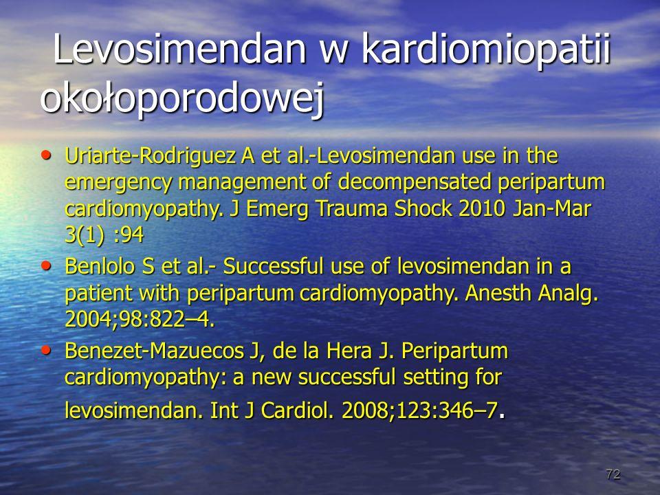 Levosimendan w kardiomiopatii okołoporodowej