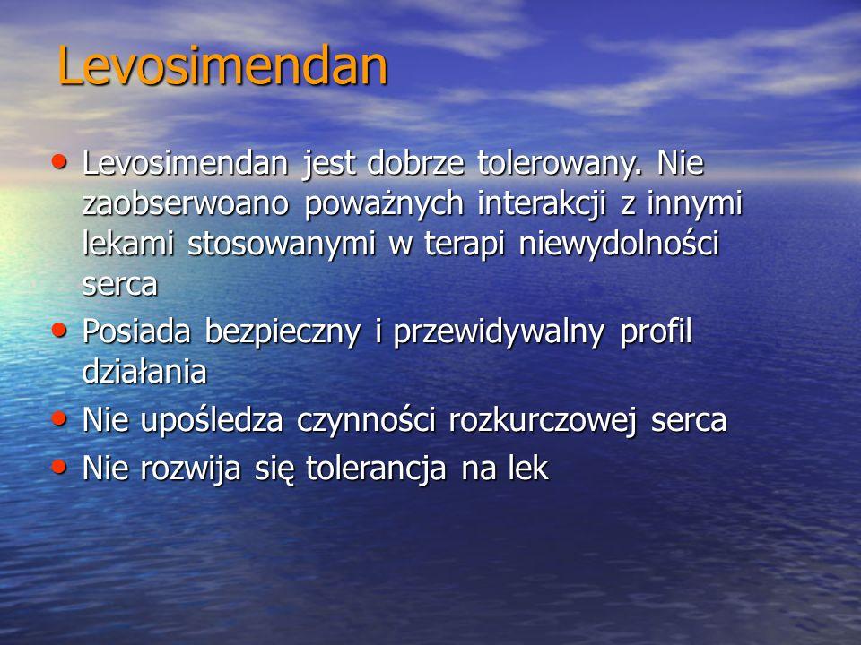 Levosimendan Levosimendan jest dobrze tolerowany. Nie zaobserwoano poważnych interakcji z innymi lekami stosowanymi w terapi niewydolności serca.