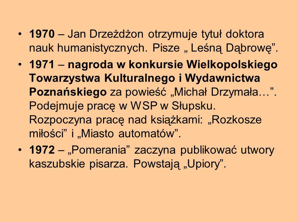 1970 – Jan Drzeżdżon otrzymuje tytuł doktora nauk humanistycznych