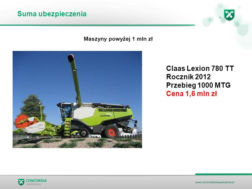 Suma ubezpieczenia Claas Lexion 780 TT Rocznik 2012 Przebieg 1000 MTG