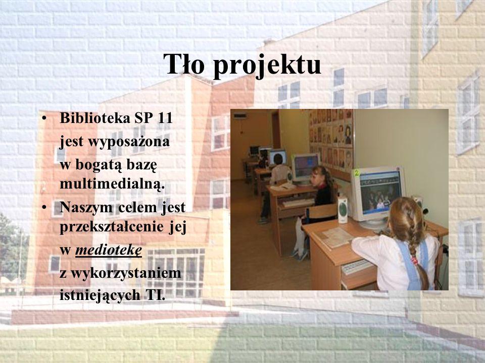 Tło projektu Biblioteka SP 11 jest wyposażona
