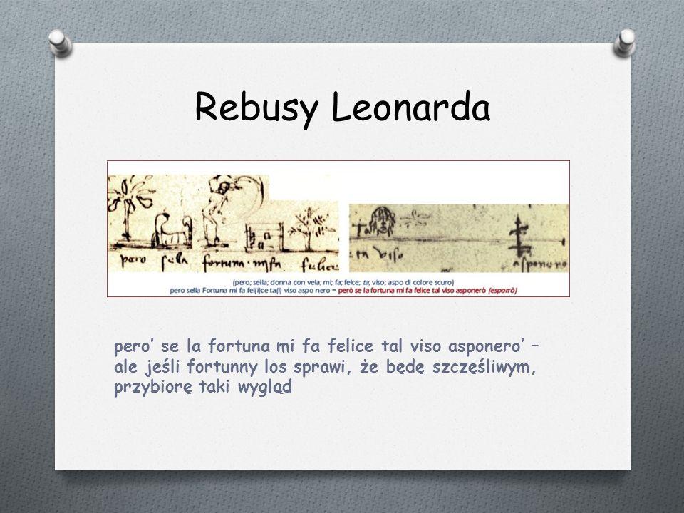 Rebusy Leonarda pero' se la fortuna mi fa felice tal viso asponero' – ale jeśli fortunny los sprawi, że będę szczęśliwym, przybiorę taki wygląd.