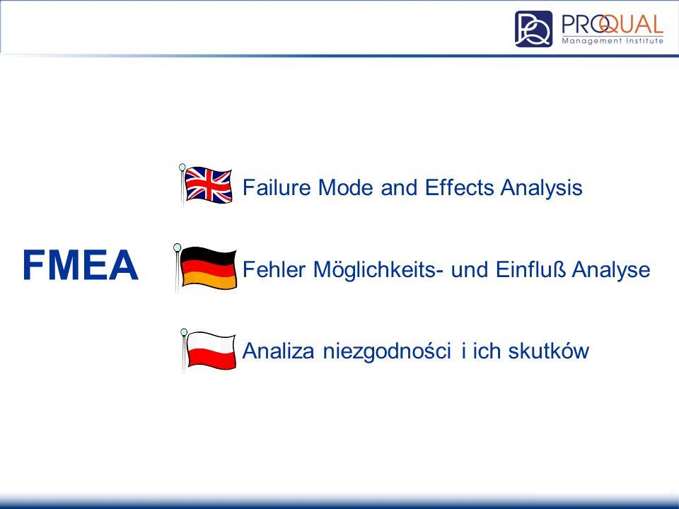 Analiza FMEA Failure Mode and Effects Analysis Fehler Möglichkeits- und Einfluß Analyse Analiza niezgodności i ich skutków.