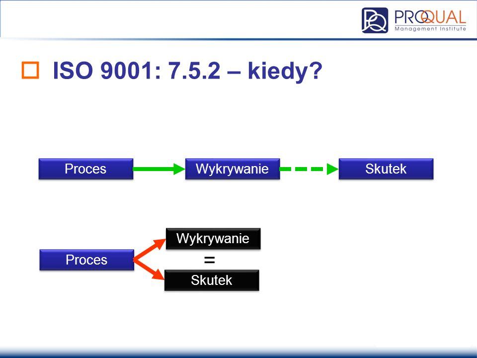 ISO 9001: 7.5.2 – kiedy = Proces Wykrywanie Skutek Wykrywanie Proces