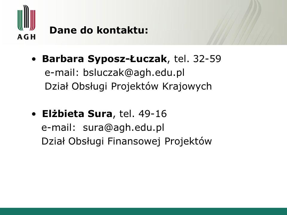 Dane do kontaktu: Barbara Syposz-Łuczak, tel. 32-59. e-mail: bsluczak@agh.edu.pl. Dział Obsługi Projektów Krajowych.