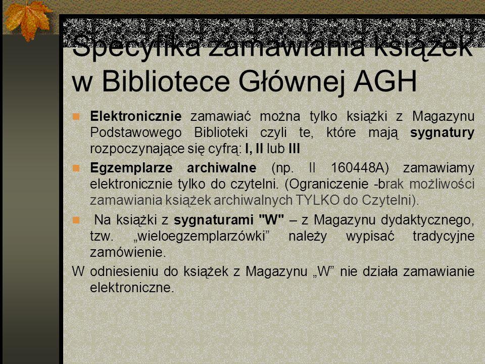 Specyfika zamawiania książek w Bibliotece Głównej AGH