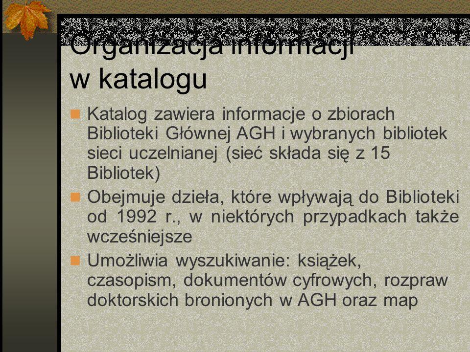 Organizacja informacji w katalogu