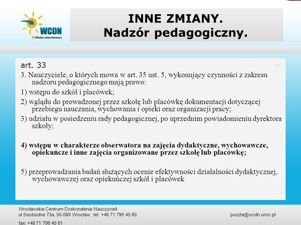 INNE ZMIANY. Nadzór pedagogiczny.