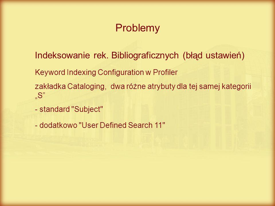 Problemy Indeksowanie rek. Bibliograficznych (błąd ustawień)